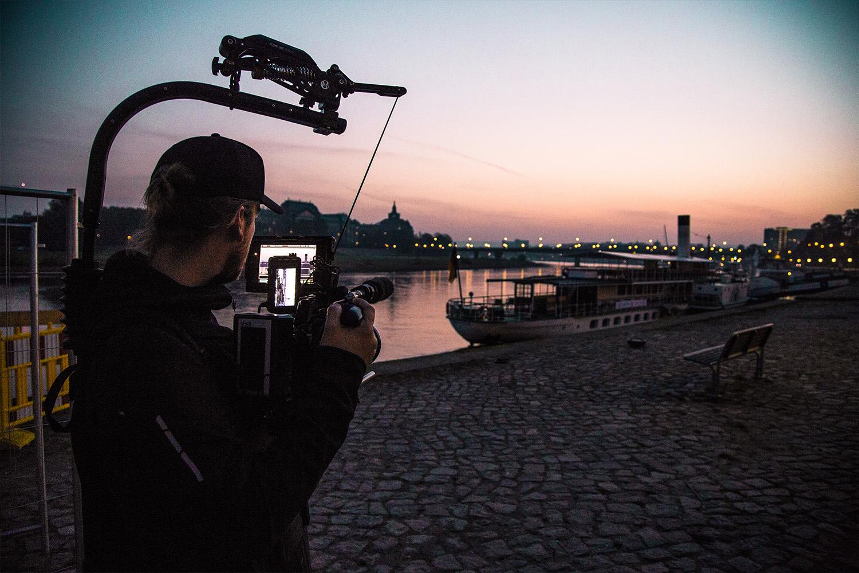 Filmproduktion Imagefilm Stadt Dresden Skyline Sonnenuntergang Dreharbeiten